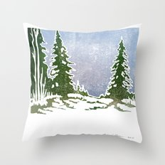 Snow and Evergreens Throw Pillow