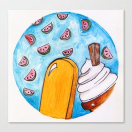 Ice-cream and Watermelons Canvas Print