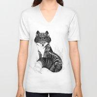wildlife V-neck T-shirts featuring Wildlife Fox by Iain Macarthur