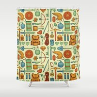 backpack Shower Curtains featuring Time for an Adventure by Sam Magee