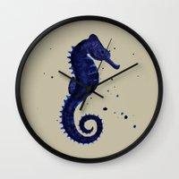 sea horse Wall Clocks featuring Sea Horse by Chrystal Elizabeth