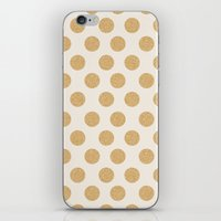 gold dots iPhone & iPod Skins featuring Glittering Gold Dots by Allyson Johnson