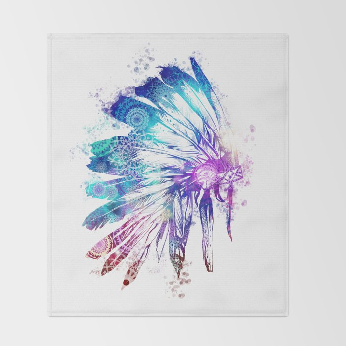 mandala colorful headdress Throw Blanket