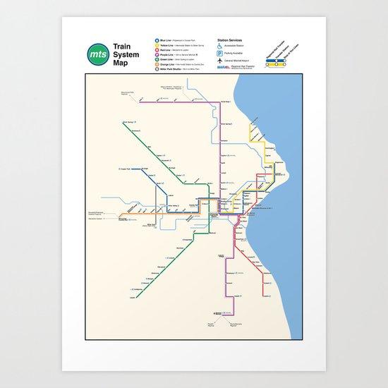 Milwaukee Transit System Map Art Print