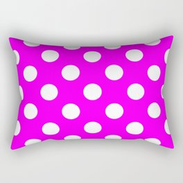 Fuchsia - White Polka Dots - Pois Pattern Rectangular Pillow