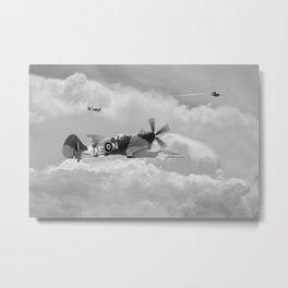 Spitfire XIV, V-1 Hunter - Mono Metal Print