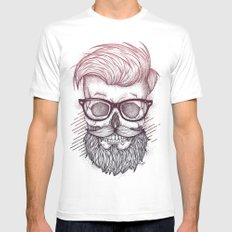 Hipster is Dead LARGE White Mens Fitted Tee