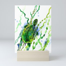 Green River Turtle Olive green Wall art Mini Art Print