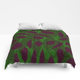 Jungle leaf Green Comforters