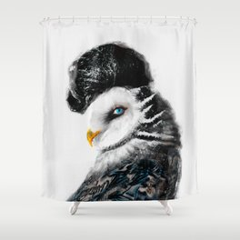 Tattooed Lady Owl Shower Curtain