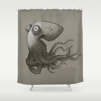 octopus Shower Curtains featuring Octopus by Tim Probert