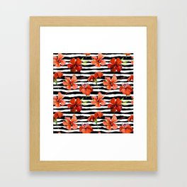 Hibiscus flower and stripes pattern Framed Art Print