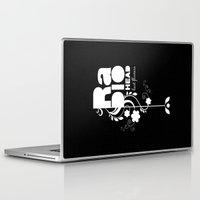 radiohead Laptop & iPad Skins featuring Radiohead song - Last flowers illustration white by LilaVert