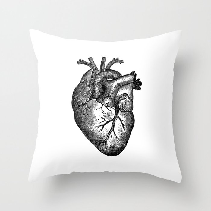 Vintage Heart Anatomy Throw Pillow By Stilleskyggerart Society6