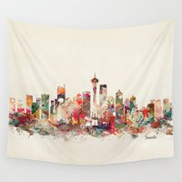 seattle Wall Tapestries featuring seattle washington by bri.buckley