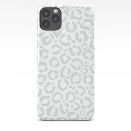 Elegant White Gray Leopard Cheetah Animal Print iPhone Case