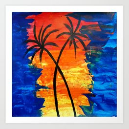 palm trees Sunset : Abstract Painting on Canvas Art Print
