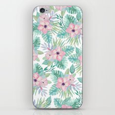 Blush pink green modern watercolor tropical floral iPhone & iPod Skin