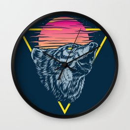 The Lone Wolf Howls at Sunset Wall Clock
