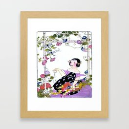 Art Deco Girl in Garden Framed Art Print
