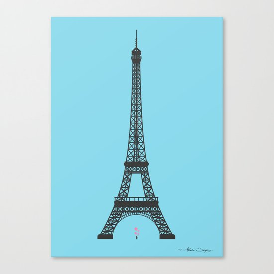 Eiffel Tower - First Kiss Canvas Print