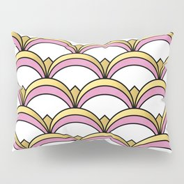 Pink and Gold Art Deco Pattern Pillow Sham