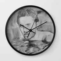 jared leto Wall Clocks featuring Jared Leto on water  by Jenn