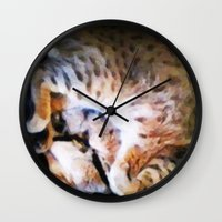 emma watson Wall Clocks featuring Watson by Probably Plaid