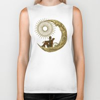 ben giles Biker Tanks featuring Moon Travel by Eric Fan