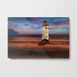 The Point of Ayr Lighthouse Sunset Metal Print