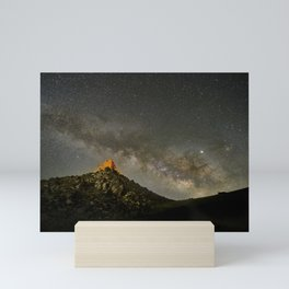 Milky way over the old observatory. Sierra Nevada Mini Art Print