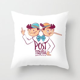 Cartoon illustration of Post-truth politics. Throw Pillow