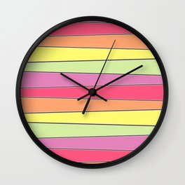 Summer Color Palette Crooked Stripes Wall Clock