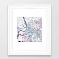 memphis Framed Art Prints featuring Memphis map by MapMapMaps.Watercolors