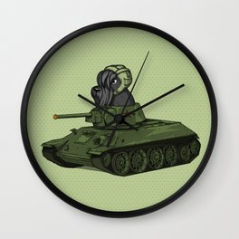 Scottish Terrier Dog Sitting in Toy Tank Wall Clock