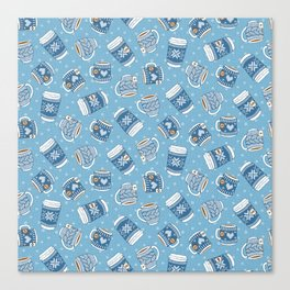 Cozy Blue Mugs Canvas Print