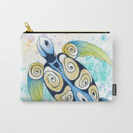 Sea Turtle Tribal Tattoo Watercolor Splash Carry-All Pouch