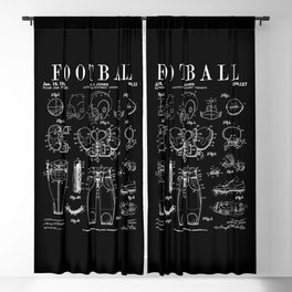 American Football Old Vintage Patent Drawing Print Blackout Curtain