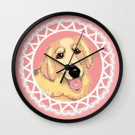 Golden Retriever Love Wall Clock