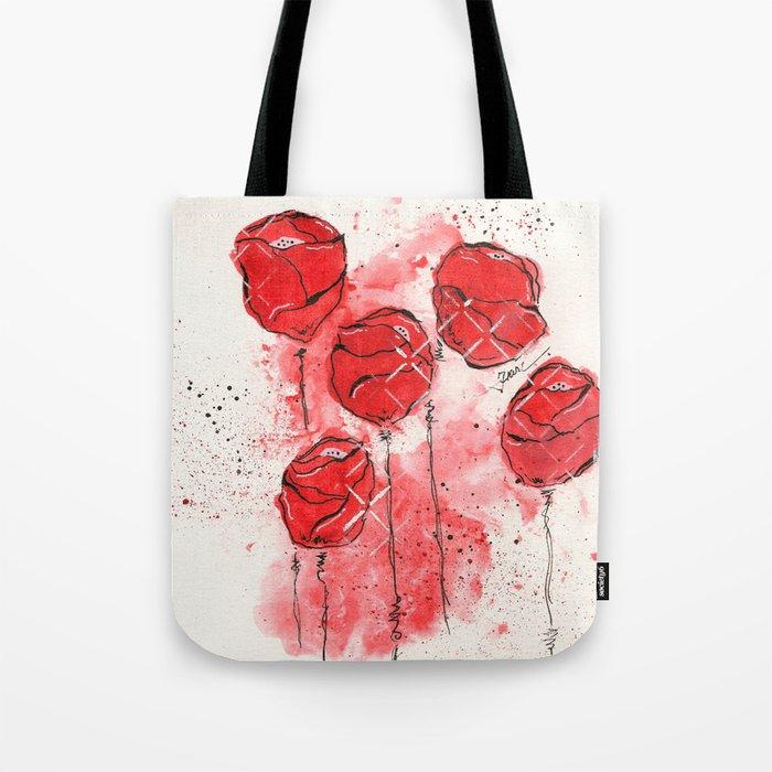 Crimson and Cream Splotch Floral Tote Bag