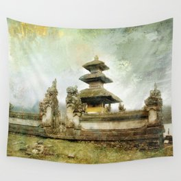 Balinese temple beside lake Wall Tapestry