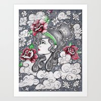 In the flowers while in the clouds. Art Print