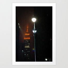 Rain At The Empire State Art Print