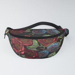 Beautiful embroidery red roses flowers pattern Fanny Pack