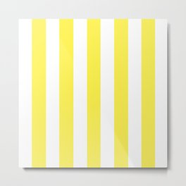 Lemon yellow - solid color - white vertical lines pattern Metal Print