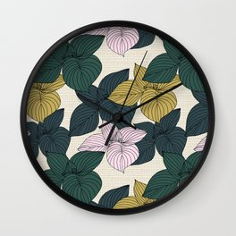 Jungle Summer Floral and Texture Wall Clock