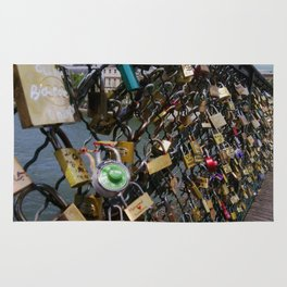 Love padlocks on Pont des Arts, Paris Rug