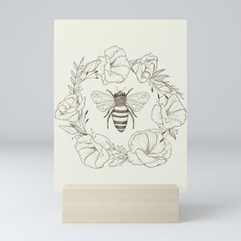 Honey Bee in a Lisianthus Wreath Mini Art Print