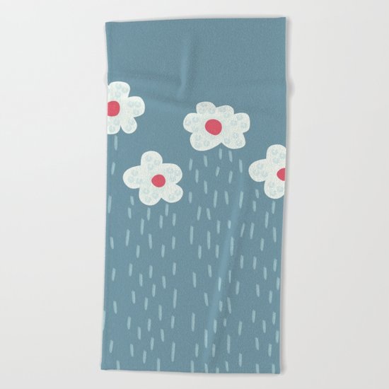 Rainy Flowery Clouds Beach Towel