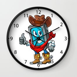 Smartphone cowboy cartoon, Wall Clock